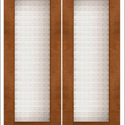 """AAW Inc. - Contemporary Entry Door Model NW-1667 - Model NW-1667 from our New World Collection. Door is solid Mahogany, 2-1/4"""" thick with a unique casted glass."""