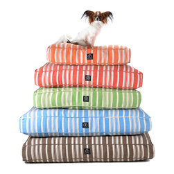 Hemp Stripe Dog Bed, Red - Colorful, vertical ticking stripes perfect for nautical or countryside decor as well as for urban apartments pattern the tailored form of the Hemp Stripe Dog Bed, a health-preserving, eco-friendly cushion for your pet's lounging. The cover is made from a hemp-cotton blend and infused with bright color using chemical-free dyes for a responsible, safe rest.