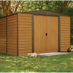Arrow Shed - Arrow Shed Woodridge 10 x 12 ft. Steel Storage Shed Multicolor - WR1012 - Shop for Sheds and Storage from Hayneedle.com! Give yourself plenty of space to storage and organize your tools equipment and supplies with the Arrow Shed Woodridge 10 x 12 ft. Steel Storage Shed. This easy-to-construct unit features a frame made from galvanized steel ensuring long-lasting durability and a natural resistance to rust. The shed features a gabled roof that's raised to provide a maximum of both storage-space and headroom. The siding is made from steel with a realistic wood-grain pattern that won't wear rot or erode over time like other inferior materials. A wide double-door design makes sure you'll have no trouble loading or removing larger items such as mowers. The shed can be constructed as a weekend DIY project with one or more persons.Additional Features:Interior Dimensions: 118.25W x 140D x 80.8H inchesDoor Dimensions: 55.5W x 69.25H inchesAbout Arrow Storage ProductsEstablished in 1962 as Arrow Group Industries Arrow Storage Products is now the worldwide leader in designing manufacturing and distributing steel storage sheds that are easily assembled from a kit. Arrow Storage Products hasn't garnered its 13 million customers by resting on its laurels either. The company takes great pride in having listened to their customers over the years to develop quality products that meet people's storage needs. From athletic equipment to holiday decorations from tools to recreational vehicles Arrow Storage Products prides itself on providing quality USA-built structures that offer storage solutions. Available in a wide variety of sizes models finishes and colors - Arrow's products are constructed with electro-galvanized steel to be more affordable durable attractive and easy to assemble.