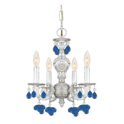Joshua Marshal - Sutton Collection Four Light Antique White Murano Crystal Glass Up Chandelier - Four Light Antique White Murano Crystal Glass Up Chandelier