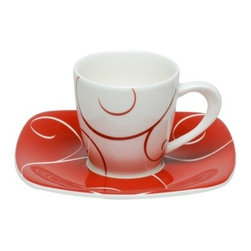 Red Vanilla Panache Rogue 3 oz. Espresso Cup and Saucer - 8 pc. Set - One good jolt deserves another, so putting a good espresso shot in the Red Vanilla Panache Rogue 3 oz. Espresso Cup and Saucer - 8 pc. Set just seems like the right thing to do. Each piece in this set is crafted from a durable, high-quality porcelain that's safe for use in the dishwasher or microwave. The gentle curls and opposing colors of the cup and saucer add an engaging style that you'll look forward to using each day.About Red VanillaFor a great night out or a quiet night in, Red Vanilla will be there. Offering a high-fashion way to enjoy dinner with friends, music on the green, or just lunch at your desk, Red Vanilla offers pieces that are as unexpected as they are varied. Brian Blake established Red Vanilla in 2004 with two overarching ideas: Red Vanilla needed to embody a lifestyle of entertainment, enjoyment, and design, and Red Vanilla needed to define itself by finding ideal products of the highest quality. Everything they make centers on the cutting edge of design while driving the industry forward with an inspired perspective.