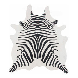 Decohides - Cowhide Zebra Rug, White - These hides will last a lifetime and are easily cleaned with woolite and cold water. Our Animal Print Cowhide rugs are stenciled and permanently dyed in the tanning process.