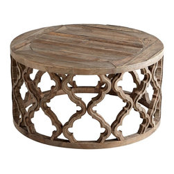 """Cyan Design - Sirah Coffee Table by Cyan Designs - The carved wood of the Sirah Coffee Table has a light artisan stain. The Moorish arch geometric pattern adds interest while maintaining an airy feel. Sturdy, yet rustic, this arabesque influenced table make an organic and modern statement. (CY) 30.5"""" diameter x 15.75"""" high"""