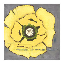 Grandin Road - Yellow Poppies II - Modern giclee printing methods replicate the artist's original work. UV protective inks provide optimal fade resistance. Waterproof surface coating. Gallery wrapped edging on lightweight high-density frame. Easy to clean with a soft, damp cloth. In our Yellow Poppies Outdoor Wall Art, blazing yellow poppies seem to jump out from each square. Use these all-weather prints by Judy Paul alone, or together for a dramatic look.  .  .  .  .  . Also makes a wonderful indoor print . Arrives ready to hang.