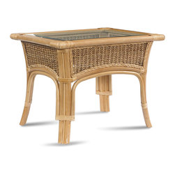 WickerParadise - Rattan End Table: Tropical Breeze Collection - For a cool, casual vibe in your favorite setting, add this rattan and sea grass end table. Its clean lines and pale tones encourage laid-back living, and the beveled glass top fits securely so you can serve up those pina coladas in style and then wipe clean with ease.