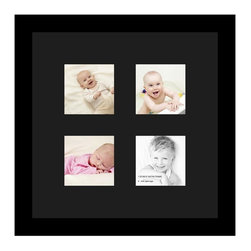 ArtToFrames - ArtToFrames Collage Photo Frame  with 4 - 4x4 Openings and Satin Black Frame - Your one-of-a-kind photos deserve one-of-a-kind frames, but visiting a custom frame shop can be time consuming and expensive. ArtToFrames extensive and growing line of inexpensive multi opening Photo Mats will get you the look you want at a price you can afford. Our Photo Mats come in a variety of sizes and colors and can be custom made to your needs. Frame choices range from traditional to contemporary, with both single and multiple photo opening mat options. With our large selection of custom frame and mat choices, the design possibilities are limitless. When you're done, you'll have a unique custom framed photo that will look like you spent a fortune at a frame shop. Your frame will be delivered directly to your front door or sent as a gift straight to your recipient.