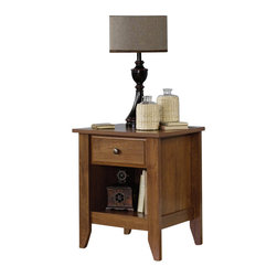 Sauder - Sauder Shoal Creek Night Stand in Oiled Oak - Sauder - Nightstands - 410412 - Contemporary meets rustic in this nightstand from the Sauder Shoal Creek collection. Drawers feature metal runners and safety stops, allowing you to use this in even the busiest of households. With one storage cubby and one drawer, this nightstand is as functional as it is beautiful. Featuring metal drawer runners and safety stops, this nightstand will hold up to even the busiest of households. As an added bonus, assembly is quick and easy with the patented T-slot assembly system. Finished in a beautiful Oiled Oak, there is no doubt that this nightstand will be a staple in your child's bedroom, master bedroom, or guest room for years to come.