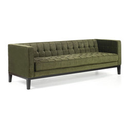 Armen Living - Roxbury Sofa in a Tufted Green Fabric - Very stylish green sofa with tufted fabric cover and a real contemporary feel.