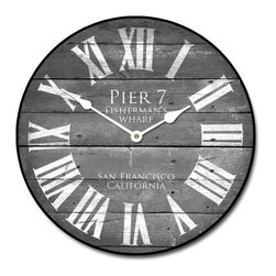 "Tyler - Pier 7 Wall Clock, Gray, 36"" - Made In USA-Made When Ordered"