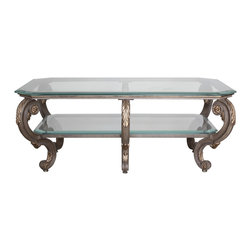 """GILANI - Florentine Coffee Table Base (Rectangular) - Florentine Coffee Table Base (Rectangular). Style no: CT97650. 60""""w x 47""""d x 24""""h. Shelf Height: 12"""". Finish/Accents: As specified. Top/Shelf Options: Glass. Custom sizing available. Designed by Shah Gilani, ASFD."""