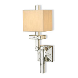 Currey and Company - Antiqued Wall Sconce - Make your home subtly glamorous by uniting modern and Shabby Chic styles together. You get the vintage look from the antiqued mirror tiles that adorn the arm and back plate of this wall sconce, while the base and shade maintain the clean lines you love.