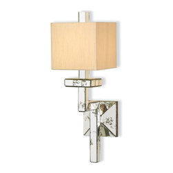 Currey and Company - Eclipse Wall Sconce - Make your home subtly glamorous by uniting modern and Shabby Chic styles together. You get the vintage look from the antiqued mirror tiles that adorn the arm and back plate of this wall sconce, while the base and shade maintain the clean lines you love.