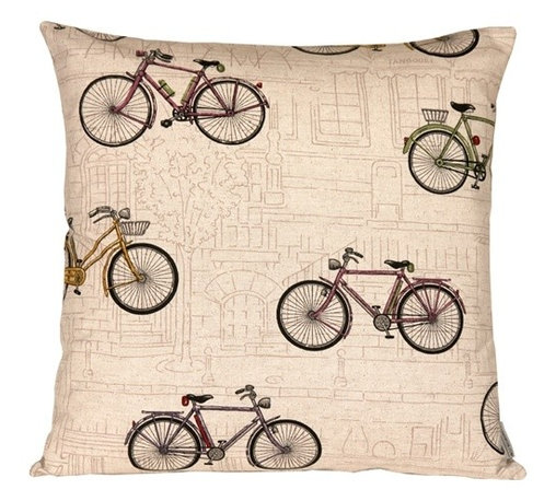 Pillow Decor - Pillow Decor - Vintage Bicycle 22 x 22 Throw Pillow - Like the bicycle itself, this throw pillow is the perfect blend of invention and design. The repeating bicycle pattern overlays an illustrated cityscape for a look that's perfectly suited as a complement to your whimsical vintage style. Its beautifully muted color scheme might just inspire your bike's next paint job.