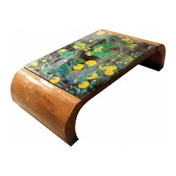 SBK Coffee Table by José Zanine Caldas - Add some tropical whimsy to your room with this eclectic coffee table. From a distance you'll notice its sexy curves, up close you'll notice the rich painted scene.