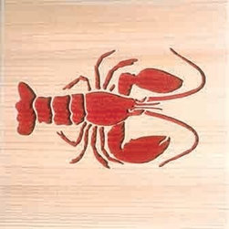 Door Mat:  Bamboo Sticks, Lobster - Cedar Wood Door Mat - Lobster