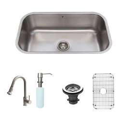 Vigo Industries - Undermount Kitchen Sink with Faucet - Includes soap dispenser, spray face, matching bottom grid, sink strainer, all mounting hardware and hot/cold waterlines