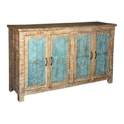 Sierra Living Concepts - Santa Fe Textured Mango Wood Sideboard Buffet Cabinet - Modern style combines with traditional techniques to create our casual Santa Fe Sideboard. Textures are celebrated with hand carved details on the doors, front, and sides. Each of the four cabinet doors feature three delicate blue pattern strips in a light brown frame which has its own textured design which is repeated on the front and sides.