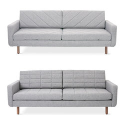 Gus Modern - Switch Sofa, Parliament Stone - The Switch Sofa has a split personality. The quilted seat and back cushions have a different stitched pattern on each side, which allows you to subtly change the look on a whim. The feet are turned, solid wood, and the frame is built with FSC-Certified hardwood, in support of responsible forest management.