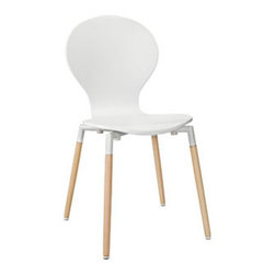 "LexMod - Path Dining Chair in White - Path Dining Chair in White - Find your center of balance in the circular path of life. Path's simple fluid lines subtly generate a powerful statement. Sit down, breathe deeply on the fiberboard frame and solid beech wood legs, and let the conversations and ideas begin to flow. Set Includes: One - Path Dining Chair Solid Beech Wood Legs, Fiberboard Frame, Plastic Non-Marking Foot Caps Overall Product Dimensions: 18""L x 16.5""W x 34""H Seat Dimensions: 17.5""L x 15.5""W x 17.5""HBACKrest Dimensions: .5""L x 16.5""H - Mid Century Modern Furniture."