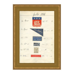 Antique Apothocary Labels, Paris - C Framed Giclee - An intriguing reproduction of antique apothecary labels from France delightfully arranged, documented and suited for any room you wish to display them in. Various shapes and sizes of labels lend themselves to a feeling of simpler times, when medicines and remedies were hand concocted, packaged and labeled.