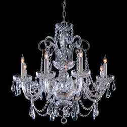 Crystorama Lighting Group - Traditional Crystal Swarovski Strass Crystal Polished Chrome Eight-Light Chandel - Traditional crystal chandeliers are classic, timeless, and elegant. Crystorama's opulent glass arm chandeliers are nothing short of spectacular. This collection is offered in a variety of crystal grades to fit any budget. For a touch of class, order this collection in Gold for traditionalists or in Chrome to match your contemporary or transitional decor.  -Primary Material: Steel  -Crystal: Swarovski Strass  -Chain or Rod Length: 36inches  -Wire Length: 72inches Crystorama Lighting Group - 5008-CH-CL-S