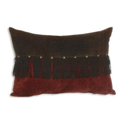 """Canaan - Mustang Suede Color 14"""" x 20"""" Throw Pillow - Mustang suede color 14"""" x 20"""" throw pillow with studs and fringe. Measures 14"""" x 20"""" made with a blown in foam. These are custom made in the U.S.A and take 4-6 weeks lead time for production."""