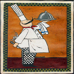 "Tile Art Gallery - Chef with Ladle - Ceramic Accent Tile, 4.25 in - This is a beautiful sublimation printed ceramic tile entitled ""Chef with Ladle"" by artist Anne Tavoletti. The printed tile displays an Italian themed Chef. Pricing starts at just $14.95 for a 4.25 inch tile."