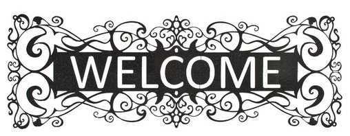 "Lazart - Filigree Welcome Metal Art Over Door Hanger in Sparkle Black - Filigree Welcome Metal Art Over Door Hanger in Sparkle Black. A crisp sparkle black welcome sign in metal art is perfect for greeting guests as they enter your home. Delicately laser cut, this filigree design fits so well in many decors. The sparkle black color adds a formal touch to this exceptional metal art piece. Measuring 30""W, it's sure to bring compliments a-plenty."