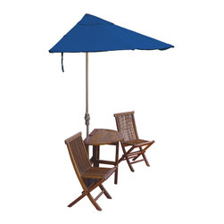"""Blue Star Group - 5-Piece BISTRO Economy Set with 7.5 Ft. Sunbrella Fabric OFF-THE-WALL BRELLA - Enjoy Urban Outdoor Leisure Living at its very best.  The BISTRO Terrace Mates 5-Piece Set is an innovative design solution in the search for shade and ambience on balconies and terraces.  Condominium and townhouse dwellers can transform a long ignored patio, deck or veranda into a vibrant addition to their lifestyle.  Designed to stand without attachment in front of a wall, window or sliding glass door, the attractive 42"""" half-oval, drop leaf, gate-leg table and comfortable folding side chairs feature the exclusive 7.5 ft. OFF-THE-WALL BRELLA half-canopy umbrella and 40 lb. Custom Cast Base.  Canopy is made of Blue Sunbrella Fabric fabric for long lasting color and durability.  Champagne color powder-coated umbrella frame and base.  When not in use the umbrella, table and chairs fold neatly out of the way to conserve space.  Crafted from kiln-dried Asian Hardwood, the furniture can be teak oiled to preserve the wood grain or leave untreated for a gray patina.  No assembly."""