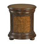Ambella Home - Whitman End Table - A cute little console with curves to spare! The Whitman end table's contours are beautifully accented by hand-tooled faux leather and tasteful distressing. You'll love the hidden storage compartment in the center as much as its dapper details.