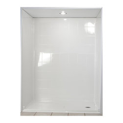 """Ella's Bubbles - Ella Standard Barrier Free, Roll In Shower 60""""W x 31""""D x 78""""H, Left Drain - The Ella Standard, (5-Piece) 60 in. x 30 in. Roll in Shower is manufactured using premium marine grade gel coat fiberglass which creates a smooth, beautiful, long lasting surface with anti-slip textured shower base floor. Ella Standard Barrier Free Shower walls are reinforced with wood and steel providing flexibility for seat and grab bar installation at needed height for any size bather. The integral self-locking aluminum Pin and Slot System allows the shower walls and the pre-leveled shower base to be conveniently installed from the front. Premium quality material, no need for drywall or extra studs for fixture support, 30 Year Limited Lifetime Warranty (on shower panels) and ease of installation make Ella Barrier Free Showers the best option in the industry for your bathtub replacement or modification needs."""