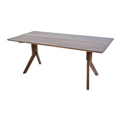 Moderncre8ve - Y Leg Modern Solid Walnut Midcentury Dining Table - A clean, angular, solid walnut leg system and tabletop defines this modern leaning dining room table.