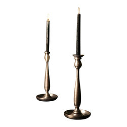 BoBo's Intriguing Objects - Leon Candlestick - You're a traditionalist at heart, so when you set a mood you want it romantic yet refined. Achieve just that courtesy of candlesticks fashioned in the French style with a subtle, not-too-shiny pewter finish.