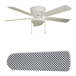 """Checkered Flag Race Car 52"""" Ceiling Fan with Lamp - This is a brand new 52-inch 5-blade ceiling fan with a dome light kit and designer blades and will be shipped in original box. It is white with a flushmount design and is adjustable for downrods if needed. This fan features 3-speed reversible airflow for energy efficiency all year long. Comes with Light kit and complete installation/assembly instructions. The blades are easy to clean using a damp-not wet cloth. The design is on one side only/opposite side is bleached oak. Made using environmentally friendly, non-toxic products. This is not a licensed product, but is made with fully licensed products. Note: Fan comes with custom blades only."""