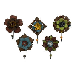iMax - iMax Caldwell Floral Wall Hooks - Set of 5 X-5-08047 - Mult-colored metal flowers adorned with rhinestones are a decorative set of wall hooks that add color to any functional space.