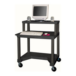 H. Wilson - Tuffy Mobile Computer Workstation - Includes 3-outlets UL listed electrical assembly with 15 ft. cord. Pull-out keyboard tray. 4 in. silent-roll full swivel casters. Chip, warp, crack, rust or peel resistant. 0.25 in. safety retaining lip. Raised texture surface that enhances product placement. Ensures minimal sliding. Convenient leg room cut out in bottom shelf. Cord management wrap. Three cable management clips. Electrical attachment is recessed to insure passage through most standard doorways. Maximum weight capacity: 125 lbs.. Made from engineered thermoplastic resin injection molded. Assembly required. 32 in. L x 24 in. W x 37.5 in. H. Warranty
