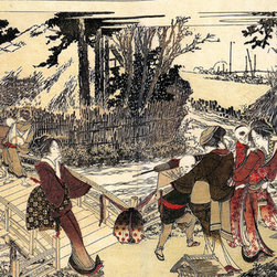 Keep Calm Collection - Village Near A Bridge by Katsushika Hokusai, art print - Katsushika Hokusai (September 23, 1760 - May 10, 1849) was a Japanese artist, ukiyo-e painter and printmaker of the Edo period. He was influenced by such painters as Sesshu, and other styles of Chinese painting.