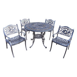 """Oakland Living - Oakland Living Mississippi 42"""" Hummingbird 5-Piece Dining Set in Antique Pewter - Oakland Living - Patio Dining Sets - 201133125AP - About This Product:"""