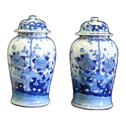 Golden Lotus - Pair Chinese Blue & White Porcelain Temple General Jars - This is a traditional Chinese decoration temple jar in blue & white color with flowers and dragon graphic.