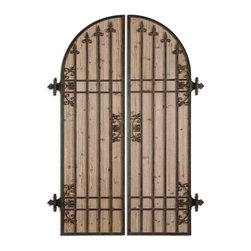 Fortore Wall Art S/2 - The Look Of A Hinged, Garden Gate Is Replicated Here With Hand Forged Metal Finished In Rustic Bronze Accented With A Lightly Stained Wood Background.