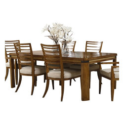 American Drew - American Drew Grove Point Rectangular Leg Table in Soft Khaki - Rectangular Leg Table in Soft Khaki belongs to Grove Point Collection by American Drew Soft Khaki, Primavera Veneer, Hardwood Solids, Sand Colored Raffia and Linen Fabric, Chocolate Brown Accent Finish Dining Table (1)