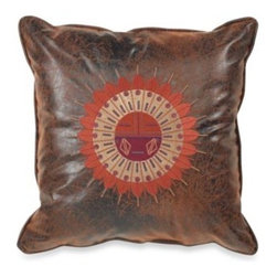 Croscill - Croscill Plateau 18-Inch Square Sundial Toss Pillow - The warmth and beauty of a rustic cabin is portrayed though this beautiful toss pillow. The faux leather pillow with a distressed brown finish has an embroidered sundial medallion and is the perfect complement to the Plateau bedding.