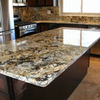 Kitchen Countertops - Delicatus granite countertops with full height backsplashes