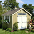 Little Cottage 12 x 10 ft. Williamsburg Colonial Panelized Garden Shed - Additional FeaturesDoor measures 5W x 6H feetIncludes Z-style shuttersColonial style doors with large hingesDouble doors make entry and exit easyDoor handle latch locksFeatures custom crafted louversTrim and siding are 98% primedHardware to assemble is included The Little Cottage 12 x 10 ft. Williamsburg Colonial Panelized Garden Shed Kit is classic and beautiful and has the lovely look of a small Colonial cottage with all the functionality of a shed or workhouse. Crafted from wood with high-quality siding and trim, this shed arrives at your door precut and ready to assemble. The siding and trim are pre-fastened onto wall panel sections, saving you time and assuring the panels are square. This cottage shed also has two working windows with glass, grids, and screens as well Z-style shutters which add just the right finishing touch. The colonial style double doors make entry and exit easy, while the door handle locks to keep your items safe. Custom-crafted louvres are also included, as well as the hardware needed to assemble the shed.About The Little Cottage CompanyNestled in the heart of Ohio's Amish country, The Little Cottage Company resides in a quaint, slow-paced setting where old-fashioned craftsmanship and attention to detail have never gone out of style. Their experienced carpenters and skilled designers take great pride in creating top-quality, pre-built models and Do-It-Yourself kits of playhouses, storage sheds, and more.