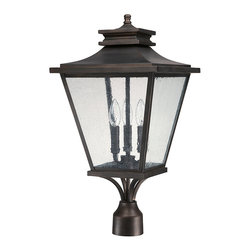 """Capital Lighting - Gentry Post Lantern - Gentry 3-Light Outdoor Post Lantern.  Old Bronze finish.  Takes three 60W Candelabra bulbs.  UL Listed.  Rated for Damp Environments.  Fits 3"""" posts.  Post sold seperately."""