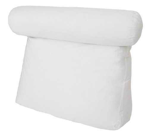 Living Healthy Products - Relax in Bed PILLOW - The Relax In Bed Pillow is the ultimate pillow for reading and watching TV in bed. This deluxe soft pillow is the most relaxing bed pillow available on the market. It is filled with poly-fiber to support the lower back and features a comfort neck roll for head support.