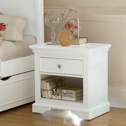 Walnut Street Power/Lite Nightstand - White - The Walnut Street Power/Lite Nightstand Walnut Street - White is a classical-style companion for your child's bedside. Made from a combination of sturdy poplar solids and select veneers this handsome nightstand features a felt-lined pull-out drawer and an open-area storage cubby built into the frame. The piece is available in white; the drawer features a solid iron pull in either a brushed nickel finish. A three-outlet power strip is built into the back of the unit making a convenient charge station. Also included is an under-unit nightlight (with three intensities) that helps keep the boogeyman at bay without being distracting to the sleeper. About New Energy Kids NE Kids is a company with a mission: to create and import truly unique furniture for your child. For over thirty years they've been accomplishing this mission with flying colors one room at a time. Not only will these products look fabulous they will provide perfect safety for your children by adhering to the highest standards set by the American Society for Testing and Material and the Consumer Products Safety Commission. Your kids are in the best of hands and everyone will appreciate these high-quality one-of-a-kind pieces for years to come.