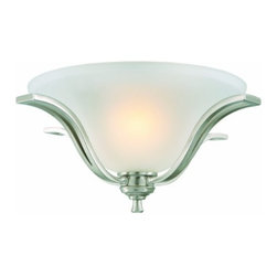 DHI-Corp - Ironwood 2-Light Energy Star Ceiling Mount, Satin Nickel - The Design House 515601 Ironwood 2-Light Energy Star Ceiling Mount is made of formed steel, snow glass and finished in satin nickel. As one of the most popular styles of light fixtures, ceiling mounts are suited for any room in the house as they hang close to the ceiling with a classic half-moon shape. Energy Star qualified, this 2-light ceiling mount is rated for 120-volts and uses (2) 13-watt GU24 compact fluorescent lamps. Measuring 8-inches (H) by 16.75-inches (W), this 5.39-pound fixture has dramatic curved steel that accentuates the soft glass for an elegant accent in a hallway, kitchen or dining room. Energy Star products meet strict energy efficiency guidelines set by the U.S. Environmental Protection Agency and the U.S. Department of Energy to maintain a greener home. This product is UL and CUL listed and suitable for damp locations. The Ironwood collection features a beautiful matching chandelier, vanity light, wall sconce and mini pendant. The Design House 515601 Ironwood 2-Light Energy Star Ceiling Mount comes with a 2-year limited warranty that protects against defects in materials and workmanship. Design House offers products in multiple home decor categories including lighting, ceiling fans, hardware and plumbing products. With years of hands-on experience, Design House understands every aspect of the home decor industry, and devotes itself to providing quality products across the home decor spectrum. Providing value to their customers, Design House uses industry leading merchandising solutions and innovative programs. Design House is committed to providing high quality products for your home improvement projects.