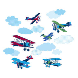 "WallPops - Mighty Vintage Planes Wall Decals - These vintage plane decals are timeless fun for your kids decor. The classic blue, red and green planes come with plenty of fluffy blue cloud stickers to create a an aerodynamic sky scene on the walls.  This wall art kit contains 18 pieces on two 17.25"" x 39"" sheets. WallPops are repositionable and always removable."