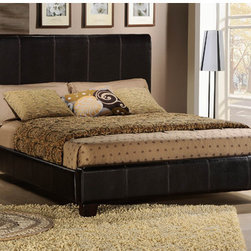 Woodbridge Home Designs - Landon Panel Bed - Features: -Bi-cast vinyl upholstered.-Finish: Dark Brown.-Distressed: No.-Powder Coated Finish: No.-Gloss Finish: No.-Finish: Dark brown.-Frame Material: Wood; Manufactured wood -Frame Material Details: Poplar and MDF..-Solid Wood Construction: No.-Upholstered: No.-Number of Items Included: 3.-Non Toxic: Yes.-Scratch Resistant: No.-Joinery Type: Groove.-Mattress Included: No.-Recommended Mattress Height: 8.-Box Spring Required: Yes -Boxspring Included: No.-Recommended Boxspring Height: 6.-Boxspring Profile Maximum: 8.-Boxspring Profile Minimum: 6..-Headboard Storage: No.-Footboard Storage: No.-Underbed Storage: No.-Mattress Profile Maximum: 6.-Mattress Profile Minimum: 6.-Combined Mattress and Boxspring Maximum Height: 6.-Slats Required: Yes -Number of Slats Required: 3.-Slats Included: Yes..-Center Support Legs: Yes.-Adjustable Headboard Height: Yes.-Adjustable Footboard Height: No.-Wingback: No.-Trundle Bed Included: No.-Attached Nightstand: No.-Cable Management: No.-Built in Outlets: No.-Lighted Headboard: No.-Finished Back: No.-Reclaimed Wood: No.-Number of Center Support Legs: 2.-Bed Rails Included: Yes.-Collection: Copely.-Eco-Friendly: Yes.-Recycled Content: Yes -Total Recycled Content (Percentage): 90%.-Post-Consumer Content (Percentage): 25%.-Remanufactured/Refurbished : No..-Wood Moldings: No.-Canopy Frame: No.-Hidden Storage: No.-Jewelry Compartment: No.-Weight Capacity: 550.-Swatch Available: No.-Commercial Use: No.Specifications: -FSC Certified: No.-EPP Compliant: Yes.-CPSIA or CPSC Compliant: No.-CARB Compliant: Yes.-JPMA Certified: No.-ASTM Certified: No.-ISTA 3A Certified: No.-PEFC Certified: No.-General Conformity Certificate: No.-Green Guard Certified : No.Dimensions: -Overall Height - Top to Bottom (Size: California King): 47.5.-Overall Width - Side to Side (Size: California King): 76.-Overall Product Weight (Size: California King): 77.47.-Headboard Dimensions Height (Size: California King): 47.5.-Headboard Width Side to Side (Size: California King): 76.-Headboard Depth Front to Back (Size: California King): 4.-Footboard Height (Size: California King): 13.-Footboard Width - Side to Side (Size: California King): 76.-Footboard Depth - Front to Back (Size: California King): 4.-Top of Headboard to Bedframe (Size: California King): 35.5.-Bottom of Side Rail to Floor (Size: California King): 6.-Side Rail Length (Size: California King): 84.-Base of Headboard to Floor (Size: California King): 23.5.-Overall Height - Top to Bottom (Size: Full): 47.5.-Overall Width - Side to Side (Size: Full): 58.-Overall Product Weight (Size: Full): 80.36.-Headboard Dimensions Height (Size: Full): 47.5.-Headboard Width Side to Side (Size: Full): 58.-Headboard Depth Front to Back (Size: Full): 4.-Footboard Height (Size: Full): 13.-Footboard Width - Side to Side (Size: Full): 58.-Footboard Depth - Front to Back (Size: Full): 4.-Top of Headboard to Bedframe (Size: Full): 35.5.-Bottom of Side Rail to Floor (Size: Full): 5.5.-Side Rail Length (Size: Full): 75.-Base of Headboard to Floor (Size: Full): 23.5.-Overall Height - Top to Bottom (Size: King): 47.5.-Overall Width - Side to Side (Size: King): 80.-Overall Depth - Front to Back (Size: King): 84.-Overall Product Weight (Size: King)
